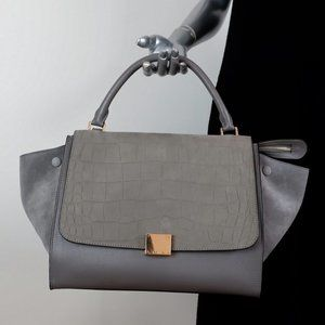 Celine Trapeze Medium Bag Gray Crocodile-Stamped